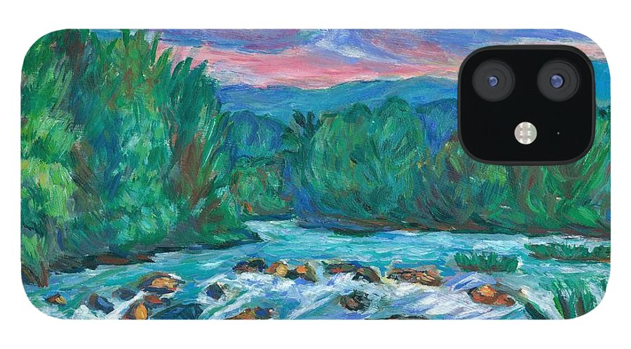Landscape IPhone 12 Case featuring the painting Stepping Stones on the New River by Kendall Kessler