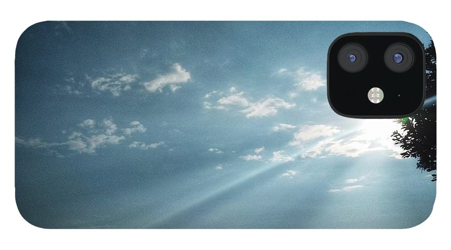 Sky IPhone 12 Case featuring the photograph Striking rays by Yvonne's Ogolla