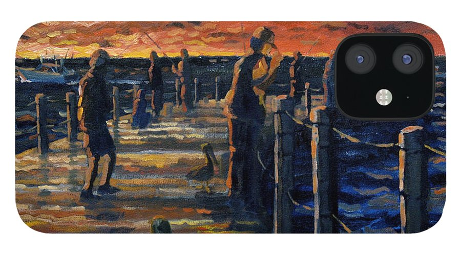 Sunrise IPhone 12 Case featuring the painting Sunrise At The Inlet by Ralph Papa