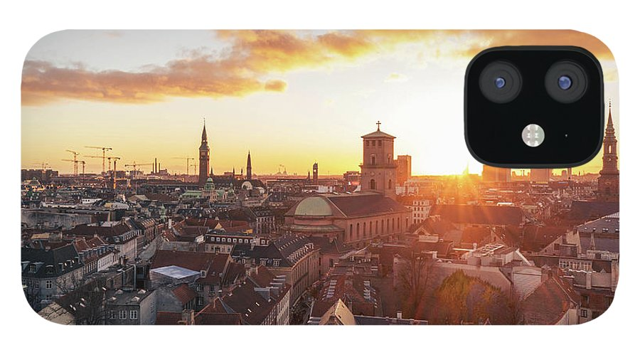 City IPhone 12 Case featuring the photograph Sunset above Copenhagen by Hannes Roeckel