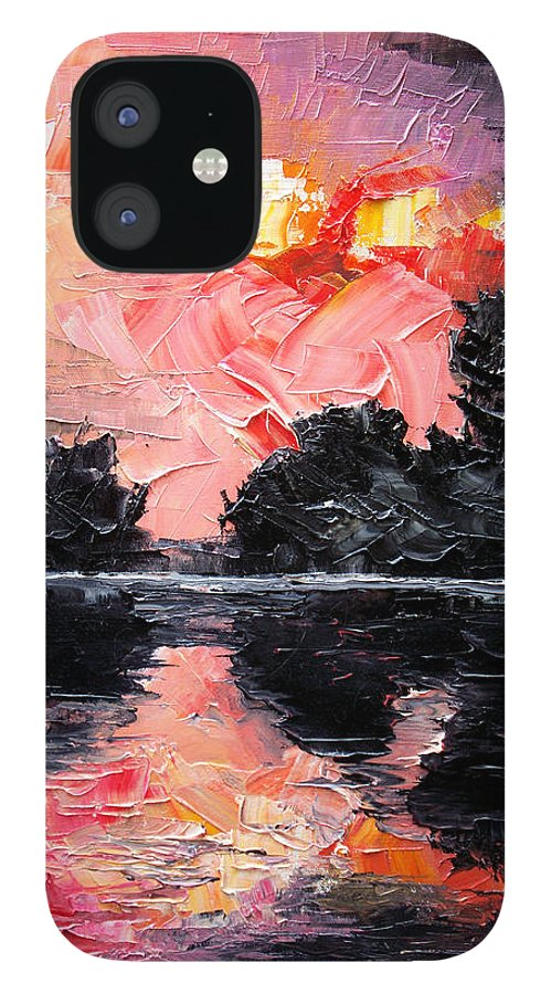 Lake After Storm IPhone 12 Case featuring the painting Sunset. After storm. by Sergey Bezhinets