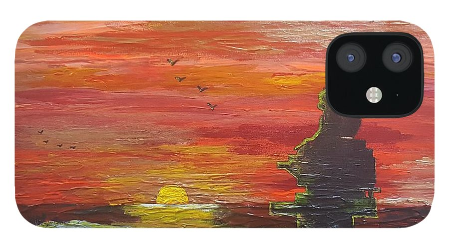 Sunset Baboon IPhone 12 Case featuring the painting Sunset Baboon by Quintus Curtius