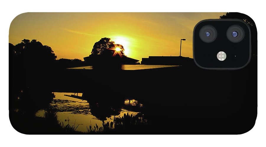 Landscape IPhone 12 Case featuring the digital art Sunset over Building by Daniel Cornell