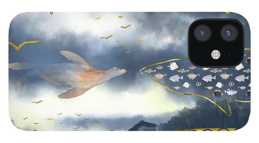Clouds IPhone Case featuring the digital art Surreal Snowstorm by Andreea Dumez