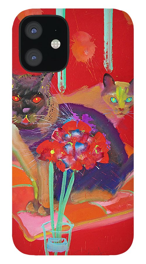 Burmese Cat IPhone 12 Case featuring the painting Symphony In Red Two by Charles Stuart