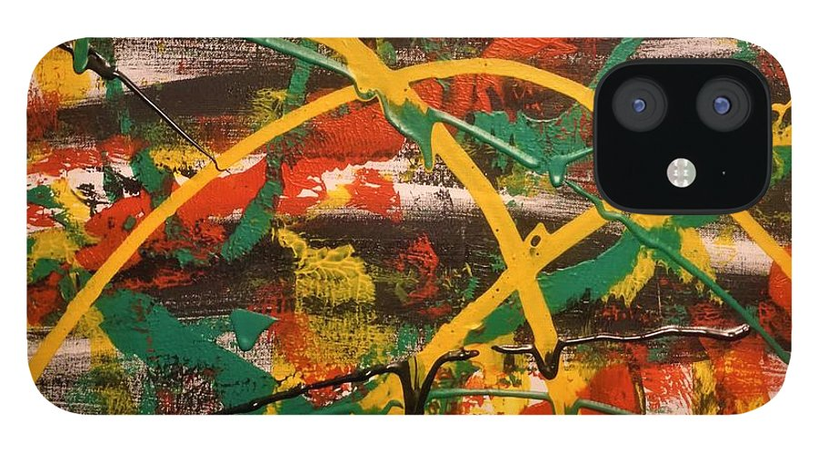 Acrylic IPhone 12 Case featuring the painting Synergy by Jimmy Clark