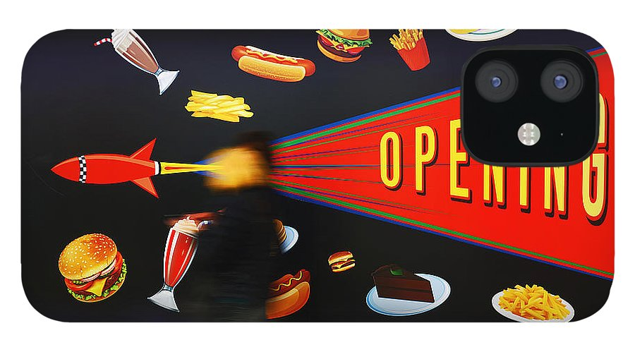 Opening Up The Diner IPhone 12 Case featuring the painting Take Out Take Off by Charles Stuart