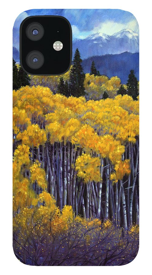 Snow Clouds Over Rocky Mountains IPhone 12 Case featuring the painting Tall Aspens by John Lautermilch