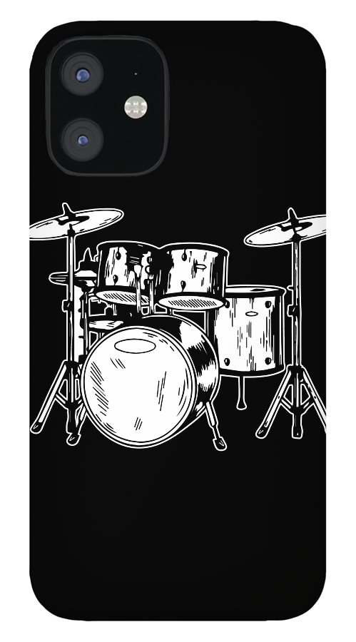 Drummer IPhone 12 Case featuring the digital art Tempo Music Band Percussion Drum Set Drummer Gift by Haselshirt