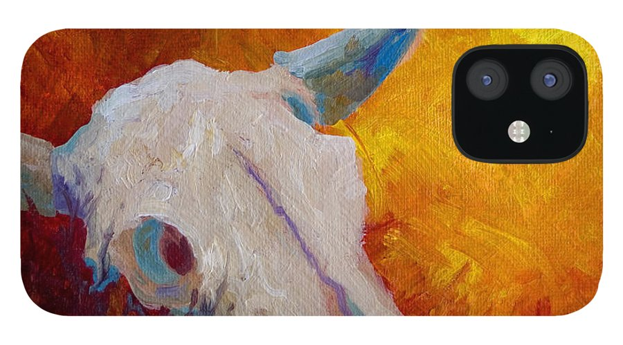 Longhorn IPhone 12 Case featuring the painting Texas Longhorn Skull by Marion Rose