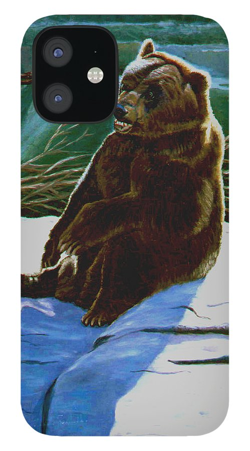 Original Oil On Canvas IPhone 12 Case featuring the painting The Bear by Stan Hamilton