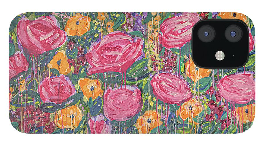 English Garden iPhone 12 Case featuring the painting The Garden by Amanda Armstrong