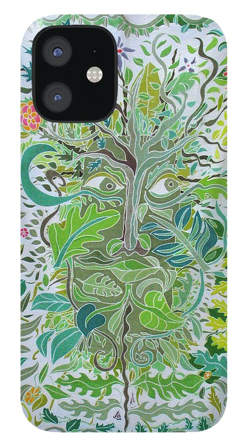 Green Man IPhone 12 Case featuring the painting The Green Man by Rollin Kocsis