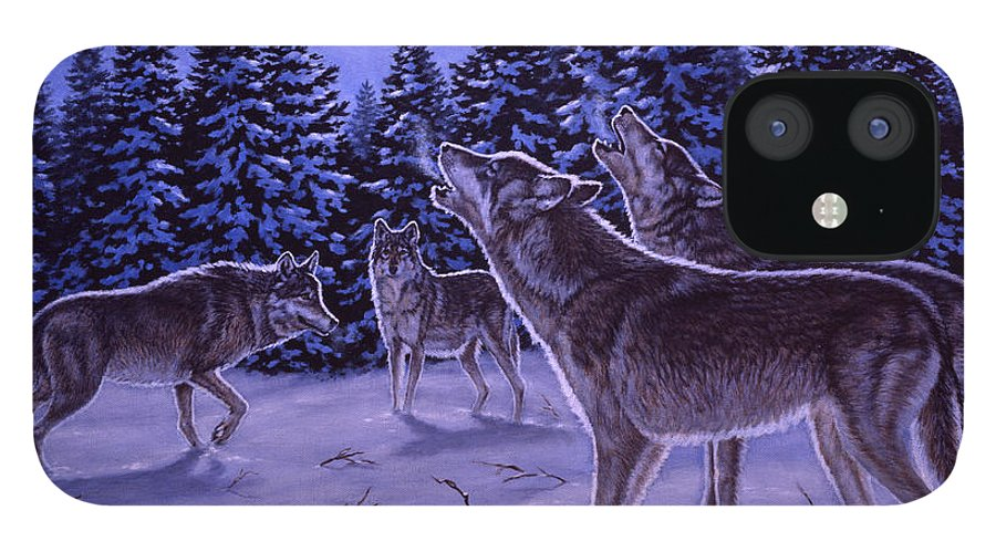 Wolf IPhone 12 Case featuring the painting The Howling by Richard De Wolfe