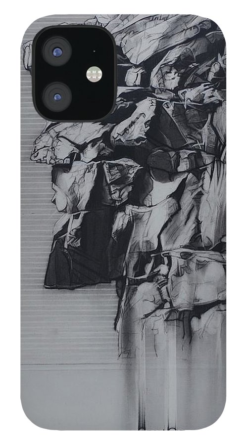 Charcoal On Paper IPhone 12 Case featuring the drawing The Old Man Of The Mountain by Sean Connolly