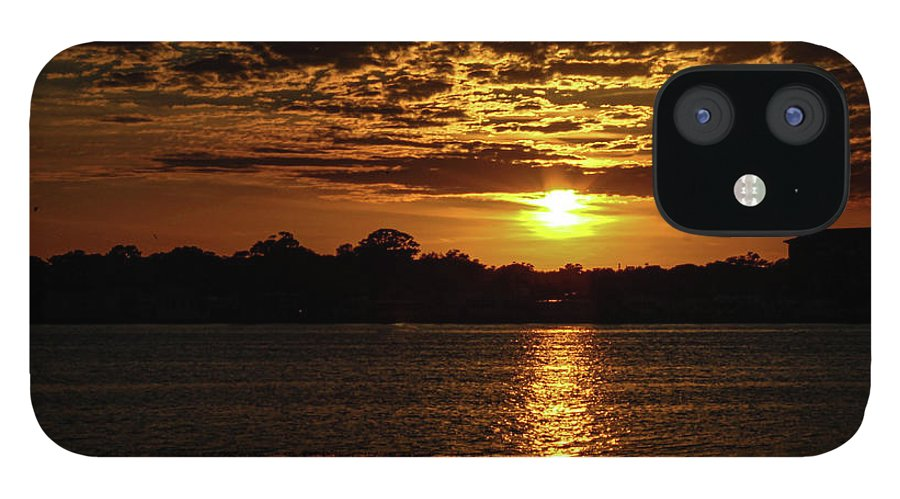 Sunset IPhone 12 Case featuring the photograph The Sunset over the Lake by Daniel Cornell