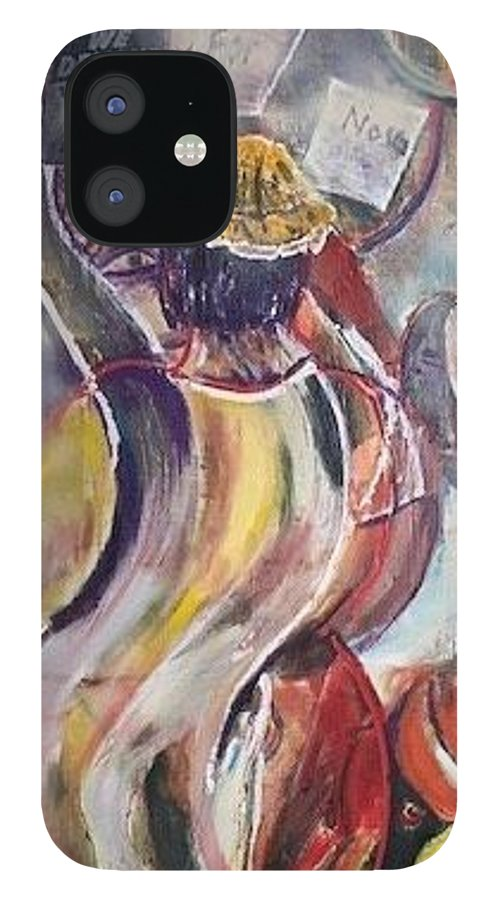 Demonstration IPhone 12 Case featuring the painting The Time is Now by Peggy Blood