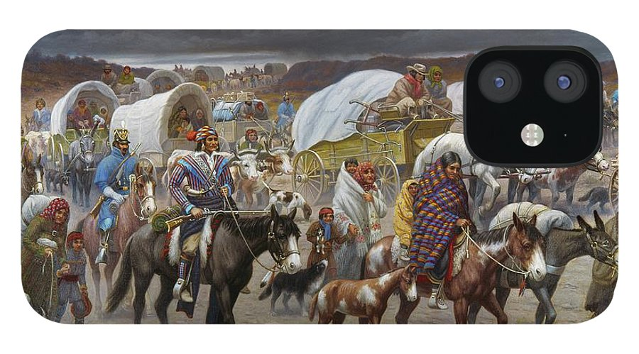 1838 IPhone 12 Case featuring the painting The Trail Of Tears by Granger