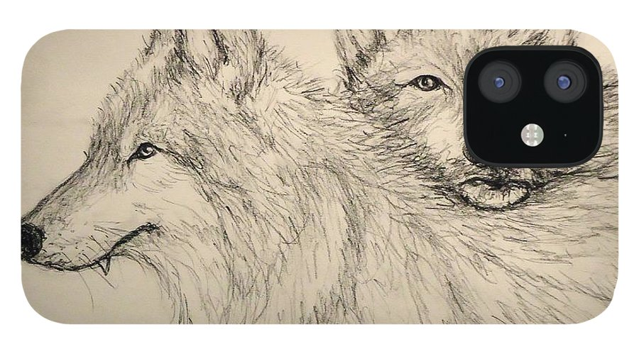 Wolves IPhone 12 Case featuring the drawing Timberwolf by Pete Maier