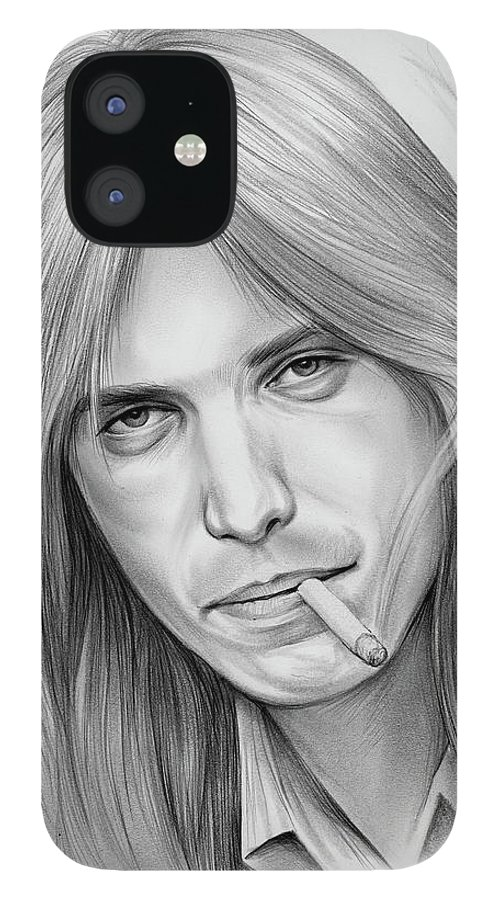 Tom Petty IPhone 12 Case featuring the drawing Tom Petty - Pencil by Greg Joens