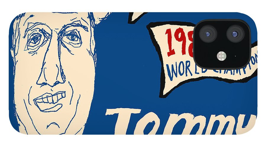 Los Angeles Dodgers IPhone 12 Case featuring the painting Tommy Lasorda Los Angeles Dodgers by JB Perkins