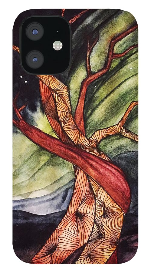 Tree IPhone 12 Case featuring the painting Tree with Northern Lights by Vonda Drees
