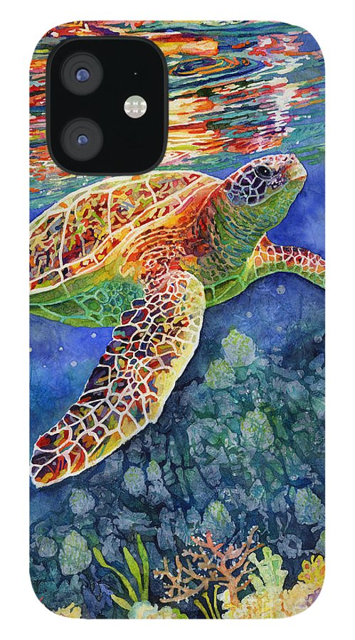 Turtle IPhone 12 Case featuring the painting Turtle Reflections by Hailey E Herrera
