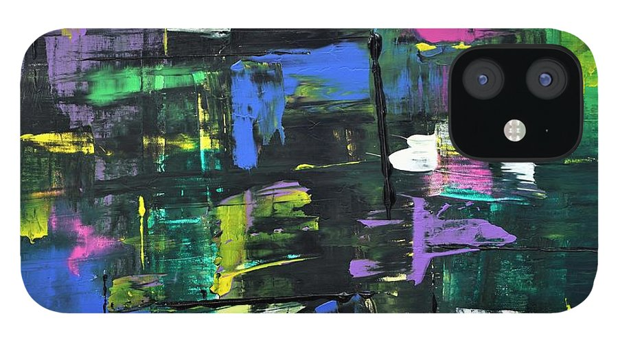 Abstract IPhone 12 Case featuring the painting Uninterrupted by Jimmy Clark