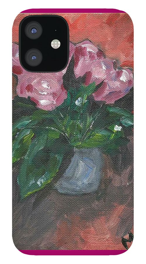 Rose IPhone 12 Case featuring the painting Vase of Roses by Monica Resinger