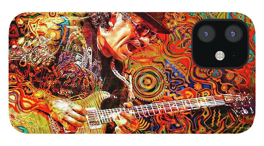Carlos Santana IPhone 12 Case featuring the digital art Viva Santana by Mal Bray