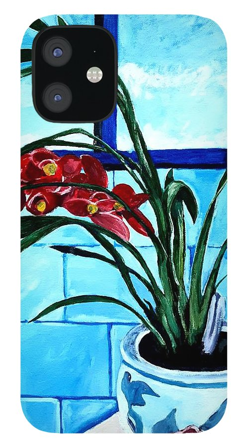 Still Life IPhone 12 Case featuring the painting Welcome Flower by Andrew Johnson