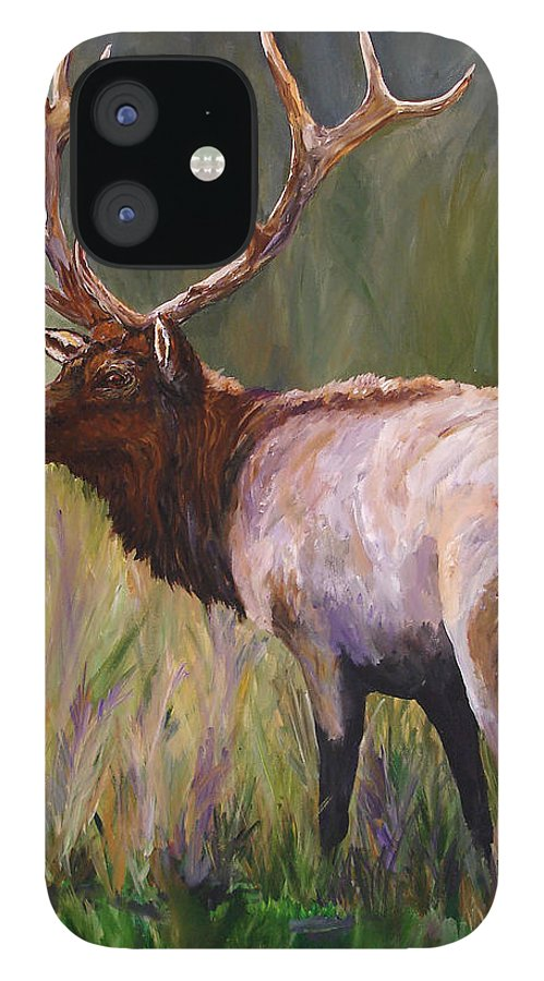 Elk Wildlife Art IPhone 12 Case featuring the painting Whapiti - ELK Now Avaliable by Mary Jo Zorad
