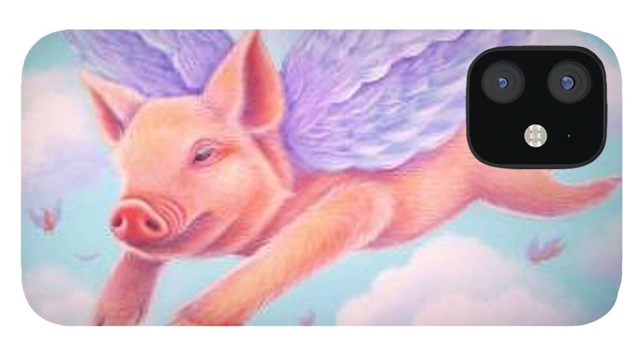 Whimsy IPhone 12 Case featuring the painting When Pigs Fly by L Risor
