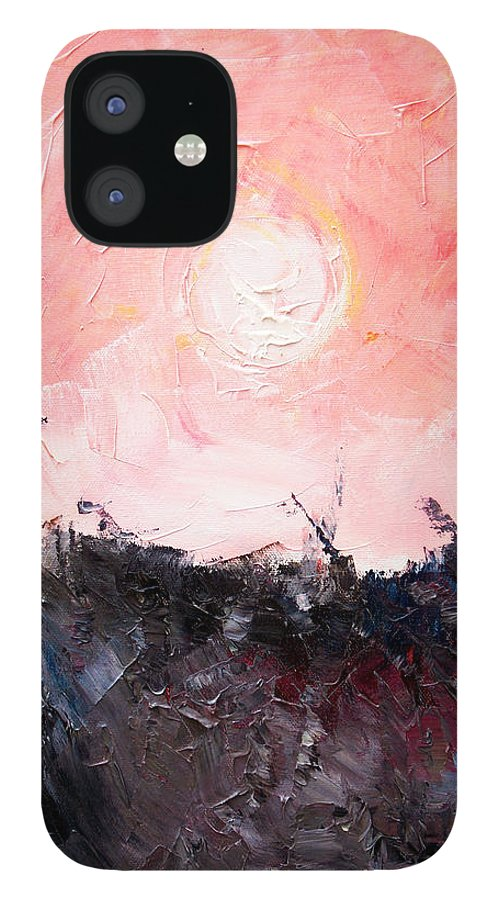 Duck IPhone 12 Case featuring the painting White Sun by Sergey Bezhinets
