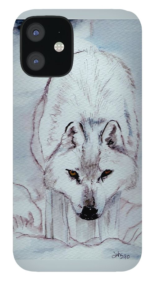 Wolf.inter Wolf IPhone 12 Case featuring the painting White Wolf by Debra Sandstrom