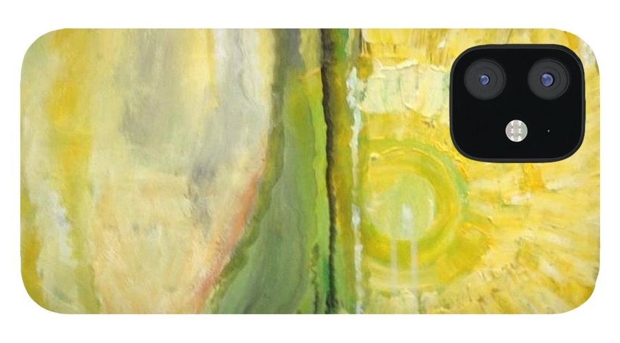 Yellow IPhone 12 Case featuring the painting Wine or Nature by Carol P Kingsley