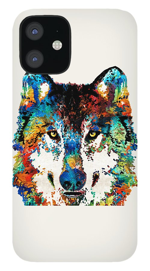 Wolf IPhone 12 Case featuring the painting Wolf Art Print - Hungry - By Sharon Cummings by Sharon Cummings