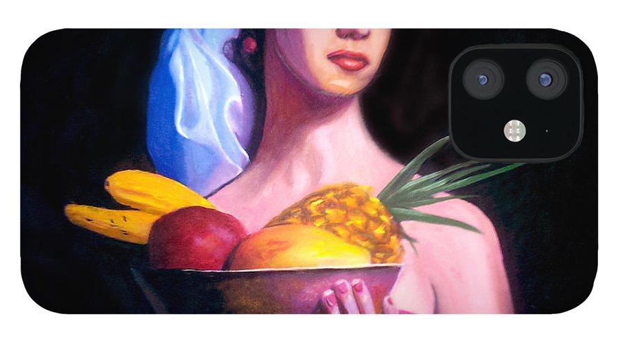 Women IPhone 12 Case featuring the painting Women With Fruits by Jose Manuel Abraham
