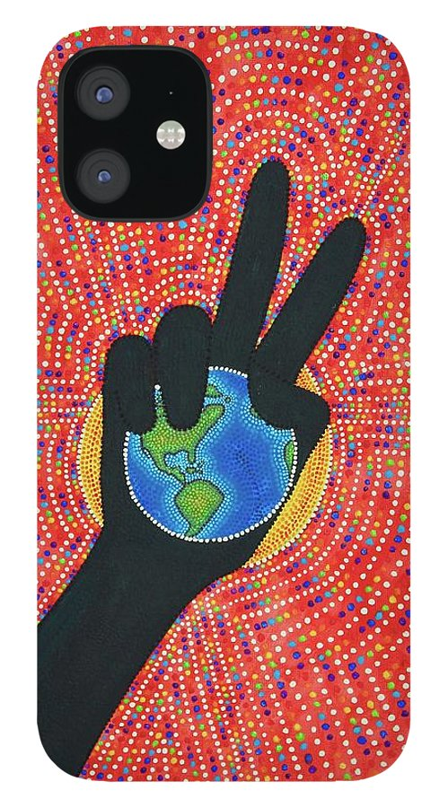 Asl IPhone 12 Case featuring the painting World Peace Is In by Mandy Elliott