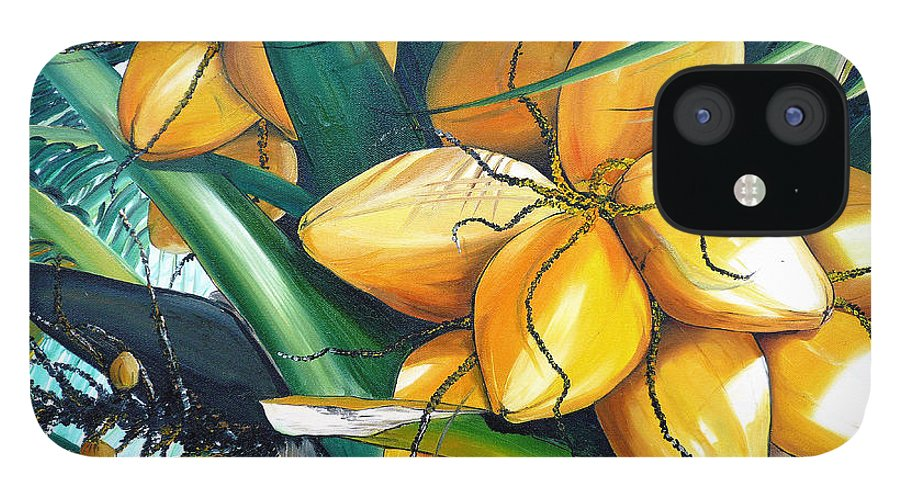 Coconut Painting Botanical Painting  Tropical Painting Caribbean Painting Original Painting Of Yellow Coconuts On The Palm Tree IPhone 12 Case featuring the painting Yellow Coconuts by Karin Dawn Kelshall- Best