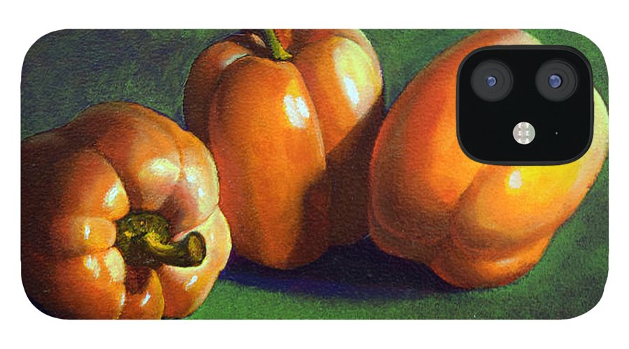 Yellow Peppers IPhone 12 Case featuring the painting Yellow Peppers by Frank Wilson