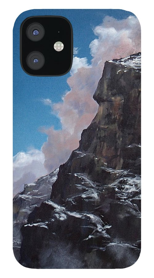 Yosemite IPhone 12 Case featuring the painting Yosemite cliff face by Philip Fleischer
