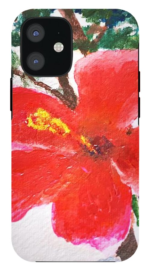 Flower iPhone 12 Tough Case featuring the painting Algarve Flower by Caroline Cunningham