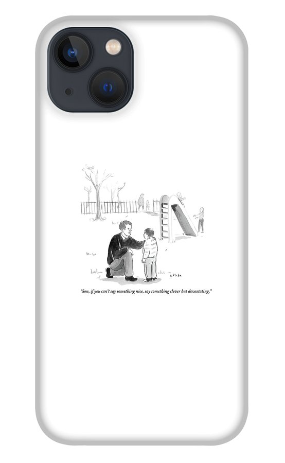 A Father Encourages His Son At The Playground iPhone 13 Case