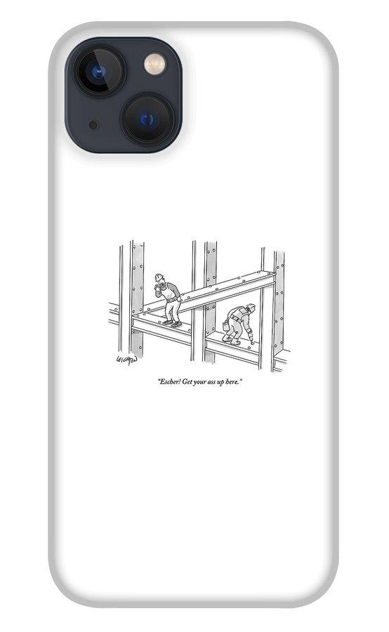 Escher Get your ass up here iPhone 13 Case