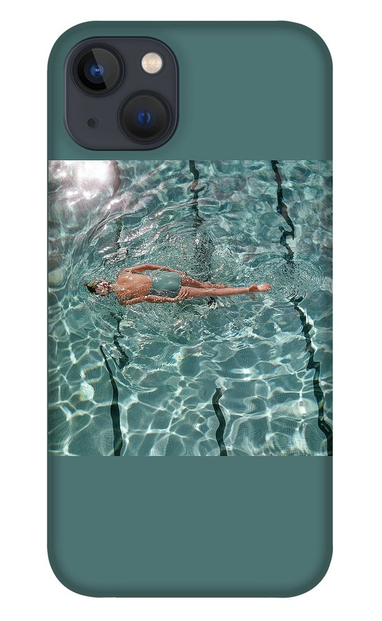 A Woman Swimming In A Pool iPhone 13 Case