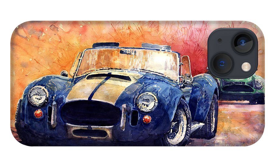 Shevchukart iPhone 13 Case featuring the painting AC Cobra Shelby 427 by Yuriy Shevchuk