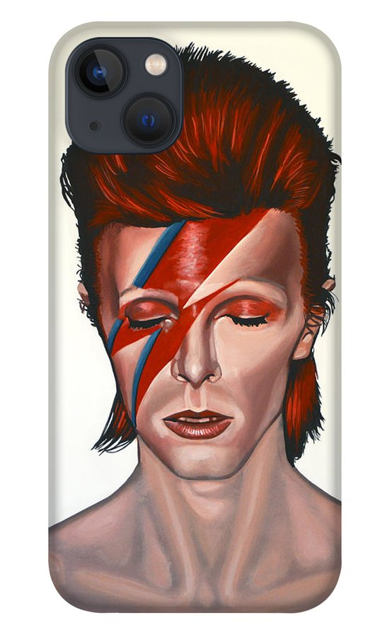 David Bowie iPhone 13 Case featuring the painting David Bowie Aladdin Sane by Paul Meijering