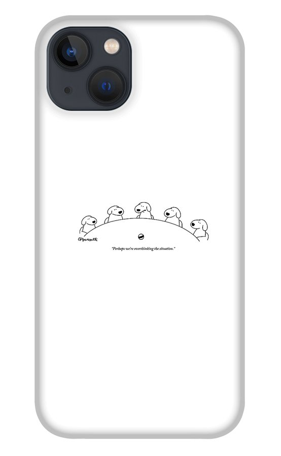 Five Dogs Sitting Around A Roundtable iPhone 13 Case