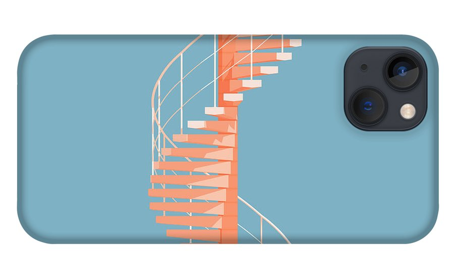 Architecture iPhone 13 Case featuring the digital art Helical Stairs by Peter Cassidy